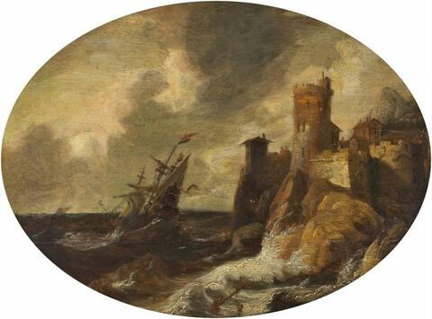 Pieter van der Croos, attributed to - COASTAL LANDSCAPE WITH SAILING SHIP IN THE STORM