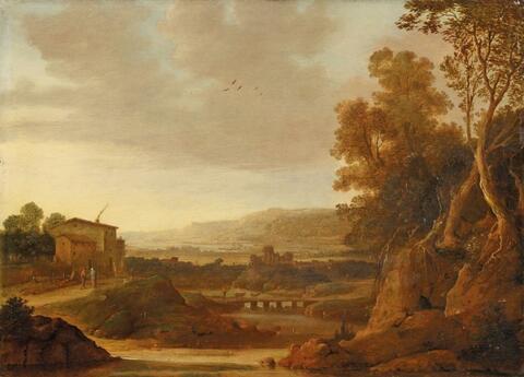 Dirck Verhaert - SOUTHERN RIVER LANDSCAPE WITH BRIDGES AND SHEPHERDS