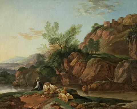 Deutscher Künstler um 1800 - LANDSCHAFT MIT HIRTE UND HERDE
