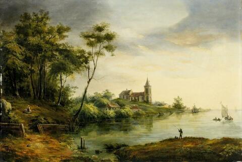 Deutscher Künstler der 1. Hälfte des 19. Jahrhunderts - FLUSSLANDSCHAFT MIT KIRCHE UND ANGLER