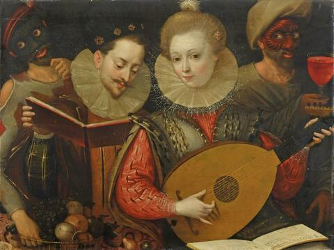 French School, second half 16th century - COUPLE PLAYING MUSIC