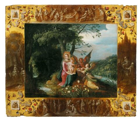 Frans Francken the Younger, AMBROSIUS FRANCKEN II and A. GOVAERTS, workshop - THE VIRGIN WITH CHILD AND TWO ANGELS