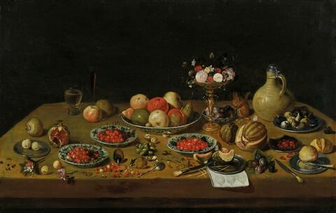 Jan van Kessel the Elder, attributed to - FRUIT STILL LIFE WITH FLOWER TAZZA, SQUIRREL, AND JAR