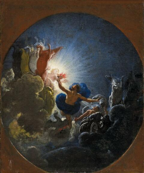 Italienischer Meister des 17. Jahrhunderts - PROMETHEUS ENTZÜNDET SEINE FACKEL IM SONNENWAGEN DES HELIOS