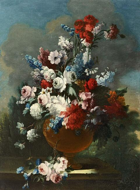 French School, 18th century - STILL LIFE WITH ROSES,PEONIES, LILLIES OF THE VALLEY, LARKSPUR AND SNOWBALL BUSH