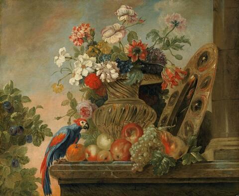 Französischer Meister des 18. Jahrhunderts - BLUMENSTILLLEBEN MIT PAPAGEI