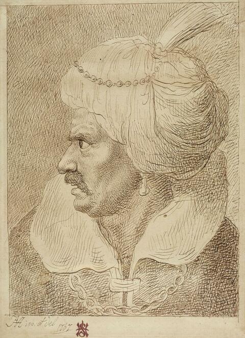 Januarius Zick - HEAD OF AN ORIENTAL WITH TURBAN