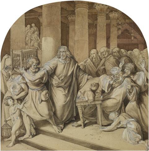 Wilhelm von Schadow, zugeschrieben - CHRISTUS VERTREIBT DIE HÄNDLER AUS DEM TEMPEL