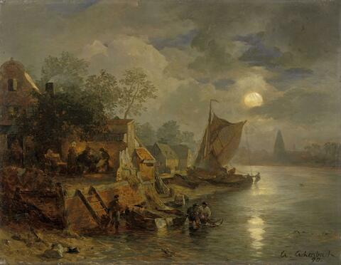 Andreas Achenbach - COASTAL LANDSCAPE IN THE NIGHT WITH FISHERMEN