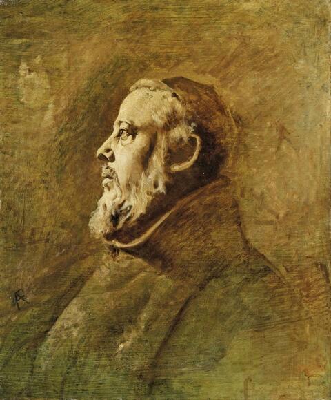 Anselm Feuerbach - BRUSTBILDNIS EINES MÖNCHS IM PROFIL NACH LINKS