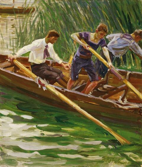 Wilhelm Trübner - THREE BOYS IN A BOAT