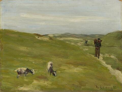 Max Liebermann - Dünen mit Bauer und grasenden Ziegen (Dunes with Farmer and grazing Goats)