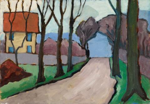 Gabriele Münter - Landstraße mit gelbem Haus