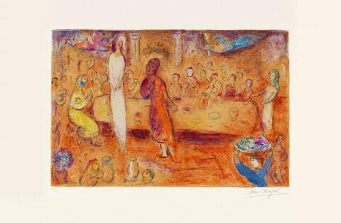 Marc Chagall - Megakles reconnait sa fille pendant le festin