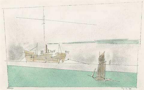 Lyonel Feininger - Frachtschiff und Segler. Rückseitig: Skizze eines Seestücks
