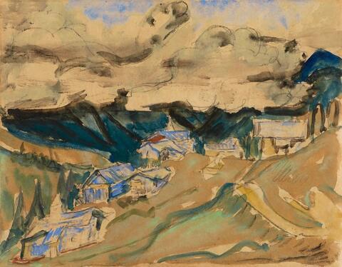 Ernst Ludwig Kirchner - Davoser Alplandschaft - Stafelalp vor Wolkendecke (Davos Alp Landscape - Stafelalp under Heavy Clouds)
