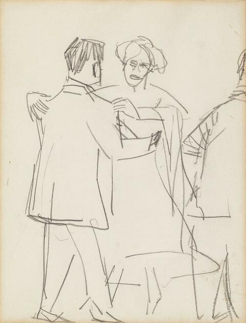 Ernst Ludwig Kirchner - Tanzendes Paar, Skizzenbuchblatt (Dancing Couple, Sketchbook Sheet)