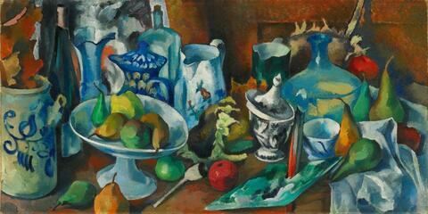 Heinrich Nauen - Obststilleben mit Krügen und einer Weinflasche (Fruit Still-Life with Jugs and a Bottle of Wine)