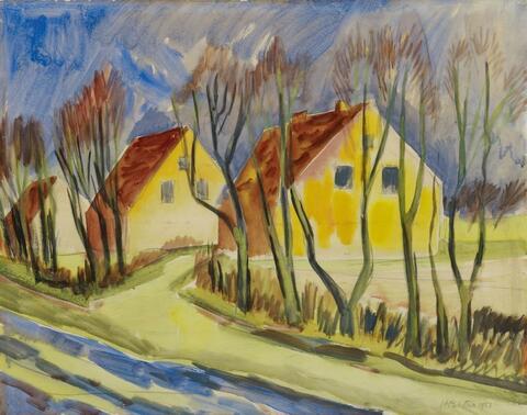 Hermann Max Pechstein - Dorfstrasse im Frühling - Leba (Village Road in Spring - Leba)