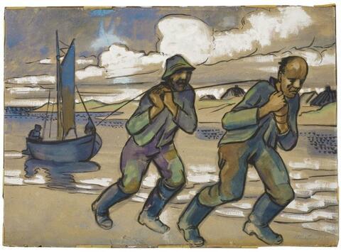 Hermann Max Pechstein - Treidelnde Fischer (Fishermen towing Boat)