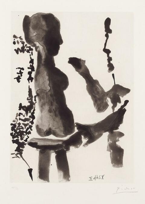 Pablo Picasso - Sculpteur devant sa sellette, avec un spectateur barbu