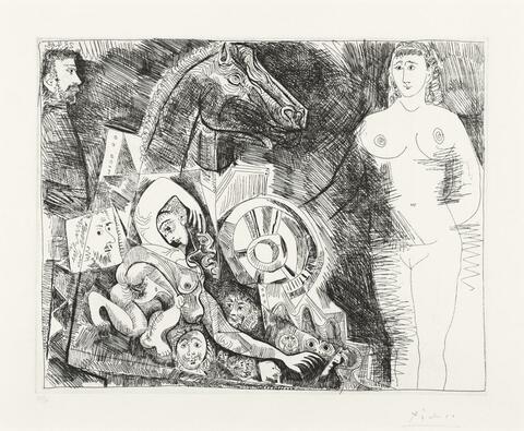 Pablo Picasso - Char romain, avec écuyère tombant, femme nue et spectateurs