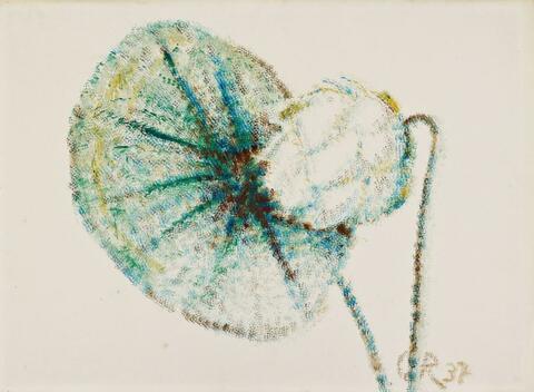 Christian Rohlfs - Lotosblüte mit großem Blatt (Lotos Bud with Large Leaf)