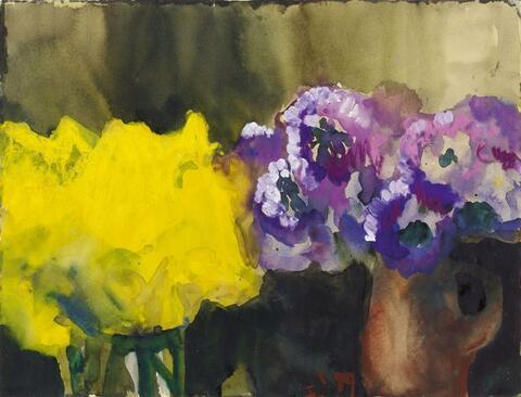 Klaus Fußmann - Untitled (Yellow and violet blossoms)