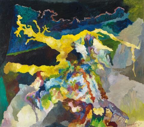 Bernard Schultze - Eine gelbe Baum-Fluss-Strasse (a yellow tree-river-street)