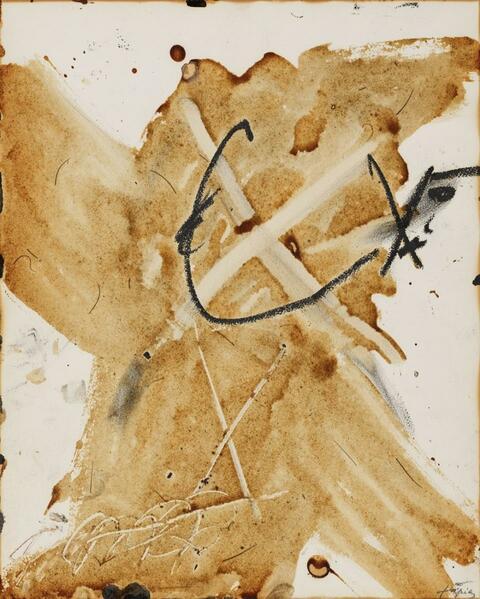 Antoni Tàpies - X on Varnish