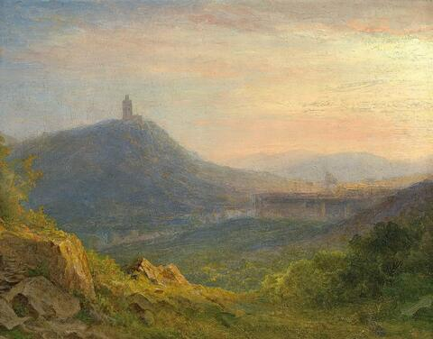 Carl Morgenstern - HILLY LANDSCAPE WITH A CASTLE RUIN