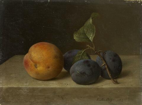 Emilie Preyer - STILL LIFE WITH PEACH AND PLUMS
