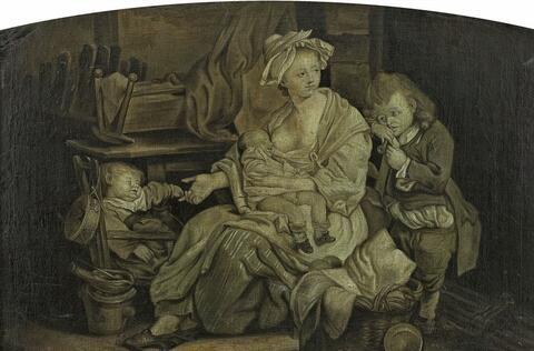 Jean-Baptiste Greuze, nach - ZWEI HÄUSLICHE SZENEN 1. MUTTER MIT IHREN KINDERN 2. ALTER MANN UND JUNGES PAAR