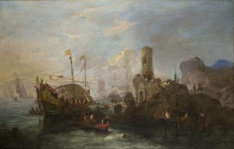 Claude-Joseph Vernet, in der Art - SÜDLICHE HAFENSZENE