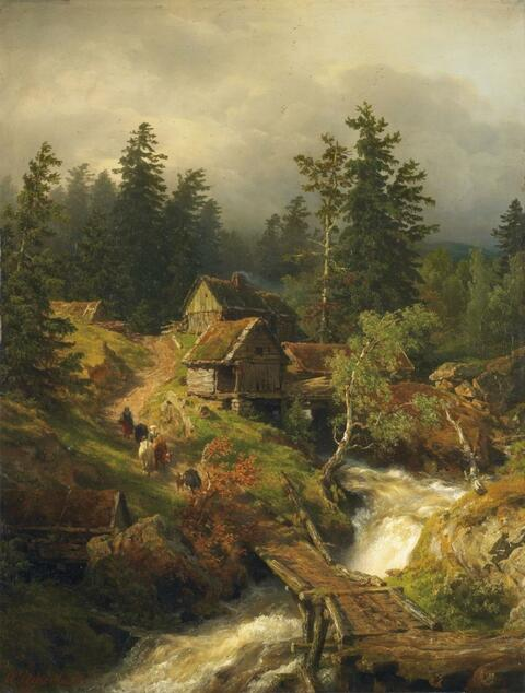 Andreas Achenbach - MOUNTAIN LANDSCAPE WITH TORRENT AND WATER-MILL