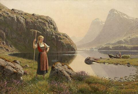 Hans Dahl - HEYHARVEST AT THE SHORE OF A NORWEGIAN MOUNTAIN LAKE