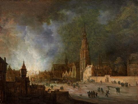 Frans de Momper - A FIRE IN ANTWERP