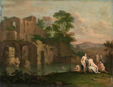 Cornelis van Poelenburgh, Umkreis - SÜDLICHE RUINENLANDSCHAFT MIT BADENDEN