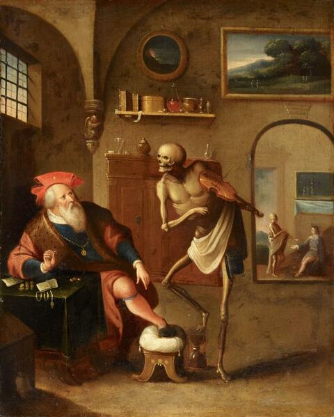 Frans Francken the Younger, follower of - DEATH PLAYING THE FIDDLE