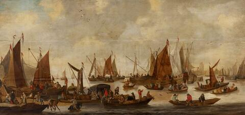 Netherlandish School, second half 17th Century - SAILING SHIPS IN FRONT OF A HARBOUR