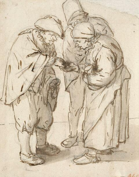 Adriaen van Ostade - OLD MAN AND A PAIR OF BEGGARS
