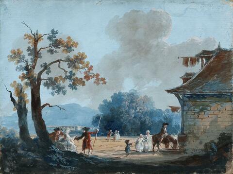 Französischer Meister des 18. Jahrhunderts - ZWEI PARKLANDSCHAFTEN MIT ELEGANTEN FIGUREN