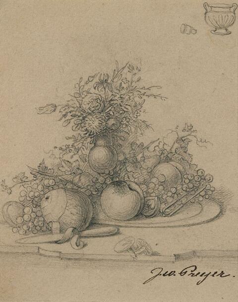 Johann Wilhelm Preyer - STILL LIFE WITH FLOWERS AND FRUITS