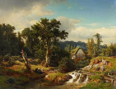 Andreas Achenbach - LANDSCAPE WITH WATER-MILL