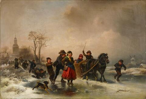 Wilhelm Meyerheim - A FROZEN RIVER WITH PLAYING CHILDREN