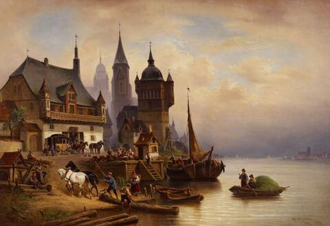 Wilhelm Meyerheim - A STAGE COACH AT A HARBOUR IN POMERANIA
