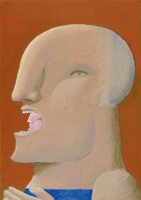 Horst Antes - Kopf mit Kopf im Mund