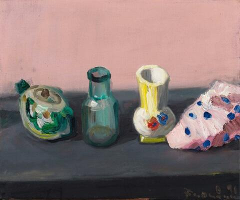 Klaus Fußmann - Untitled (still life with bottle and cloth)