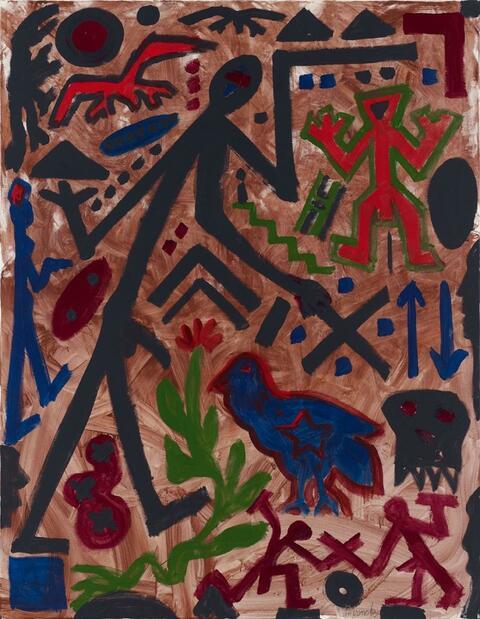 A.R. Penck - Ohne Titel (Das blaue Huhn)