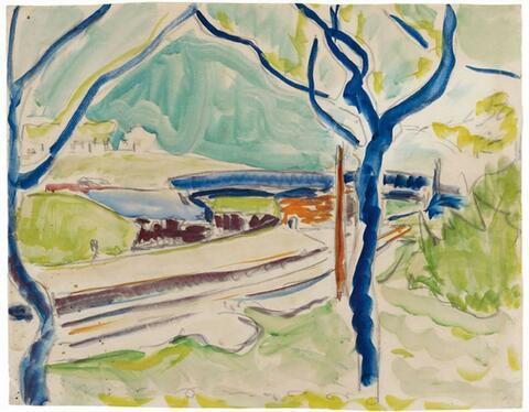 Ernst Ludwig Kirchner - Landschaft mit See im Hintergrund. Rückseitig: Badende (Landscape with Lake in Background. Verso: Bathing Woman)